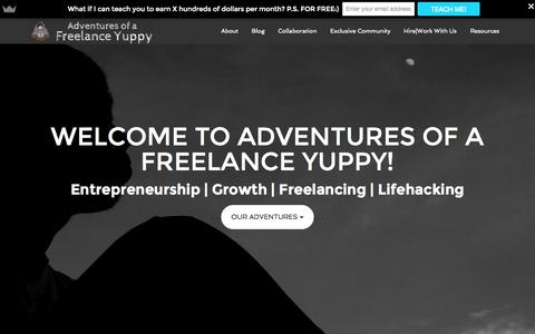 Screenshot of Home Page adventuresofafreelanceyuppy.com - Creating Inspiring Stories - Adventures of a Freelance Yuppy - captured Oct. 1, 2015