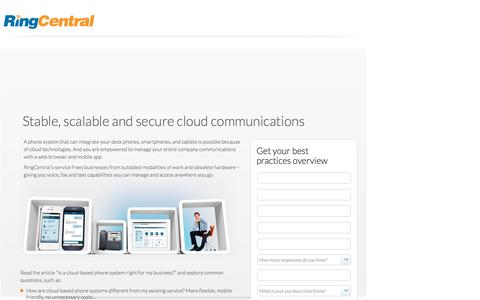 Screenshot of Landing Page ringcentral.com - Stable, scalable and secure cloud communications - captured April 13, 2017
