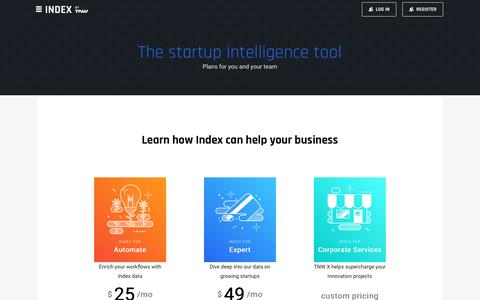 Screenshot of Pricing Page index.co - Data Tools Pricing – Index - captured Sept. 7, 2018