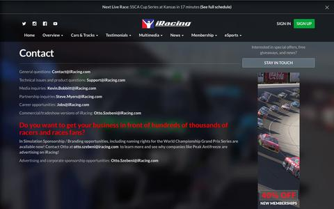 Screenshot of Contact Page iracing.com - Contact - iRacing.com | iRacing.com Motorsport Simulations - captured Sept. 21, 2018