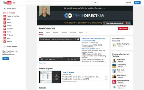 Screenshot of YouTube Page youtube.com - TradeDirect365  - YouTube - captured Oct. 26, 2014