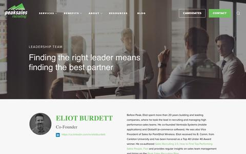 Screenshot of Team Page peaksalesrecruiting.com - Leadership Team | Peak Sales Recruiting - captured July 16, 2018