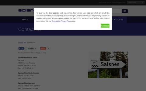 Screenshot of Contact Page salsnes-filter.com - Contact Us   Salsnes Filter - captured Sept. 30, 2014