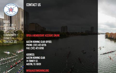 Screenshot of Contact Page austinrowing.org - Contact Austin Rowing Club | Phone | Email | Online Form | Austin Rowing Club - captured Oct. 4, 2014