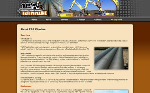 Screenshot of About Page trpipe.com - About Us   T&R Pipeline - captured Oct. 7, 2014