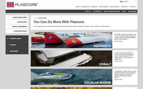 Screenshot of Case Studies Page plascore.com - Honeycomb Core and Cleanroom Case Studies - captured Jan. 29, 2016