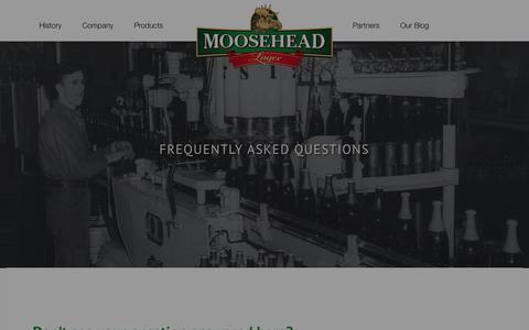 Screenshot of FAQ Page moosehead.ca - FAQ - Moosehead Lager - captured Feb. 28, 2016