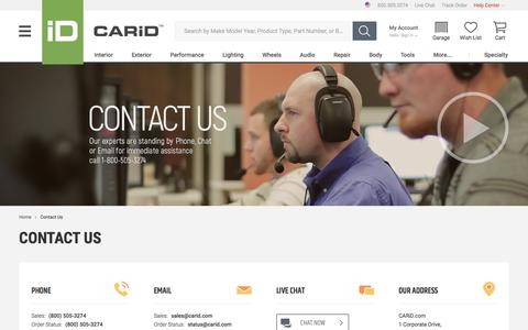 Screenshot of Contact Page carid.com - CARiD.com - CONTACT US - captured May 11, 2017