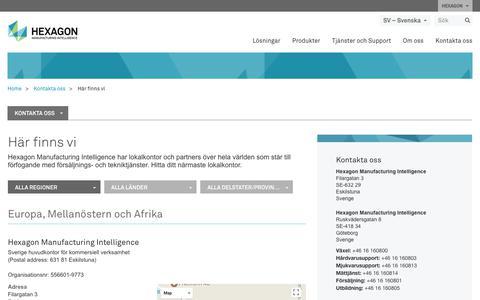Screenshot of Locations Page hexagonmi.com - Här finns vi | Hexagon Manufacturing Intelligence - captured Nov. 25, 2017