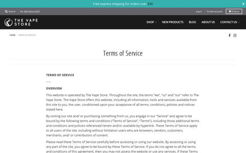 Terms of Service – The Vape Store