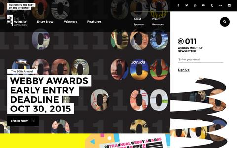 Screenshot of Home Page webbyawards.com - The Webby Awards - captured Oct. 20, 2015