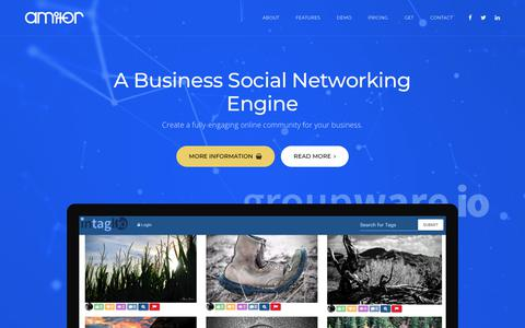 Screenshot of Home Page amitor.com - Amitor | The Business Cloud Engine - captured Oct. 23, 2018