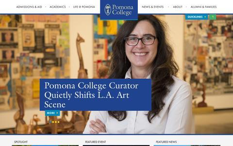Screenshot of Home Page pomona.edu - Pomona College in Claremont, California - Pomona College - captured Oct. 1, 2015