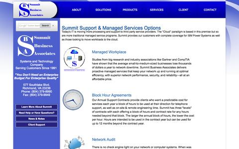 Screenshot of Services Page summitbiz.net - SBA | Services - captured Oct. 6, 2014