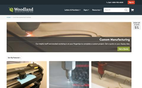 Screenshot of Services Page woodlandmanufacturing.com - Custom Manufacturing: Signs & Displays | Woodland Manufacturing - captured Oct. 2, 2018