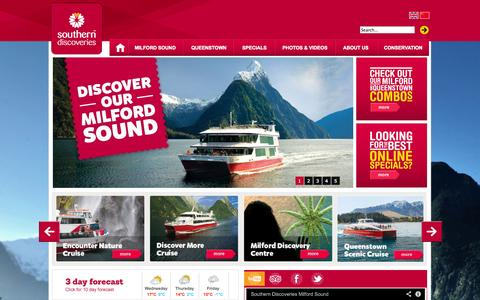 Screenshot of Home Page southerndiscoveries.co.nz - Milford Sound Cruises, Queenstown, Tours & Flights, Day Tours - Fiordland, New Zealand - captured Sept. 30, 2014