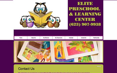 Screenshot of Contact Page elitepreschool.org - Elite Preschool | Contact Us | Preschool in Phoenix, AZ 85043 - captured Nov. 5, 2016