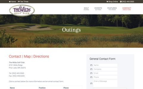 Screenshot of Contact Page Maps & Directions Page golfthewilds.com - The Wilds Golf Club | Prior Lake, MN - Contact & Directions - captured Nov. 7, 2018