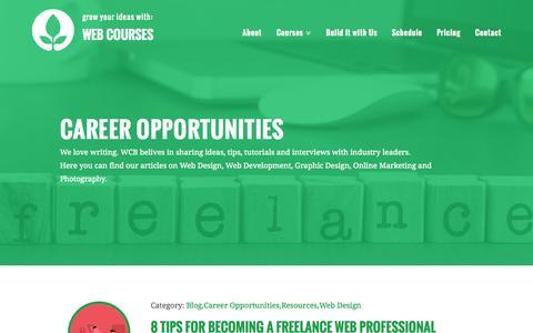 Screenshot of Jobs Page webcoursesbangkok.com - Career Opportunities Archives - Web Courses Bangkok - captured Oct. 1, 2015