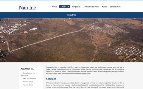 Screenshot of About Page nanhawaii.com - Nan Inc Hawaii – About Us | Nan, Inc. - captured Feb. 17, 2016