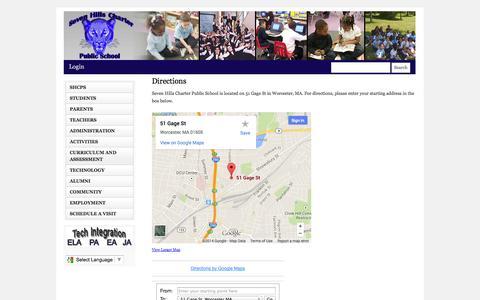 Screenshot of Maps & Directions Page sevenhillscharter.org - Seven Hills Charter Public School – Worcester, MA | Directions - captured Oct. 7, 2014