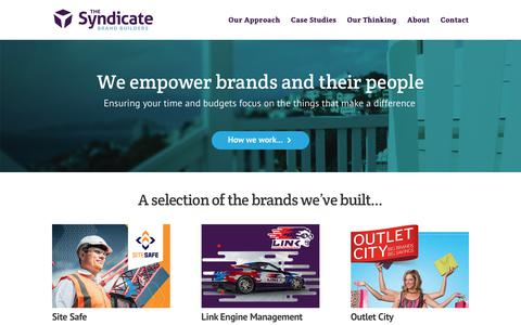 Screenshot of Home Page thesyndicate.co.nz - Brand Developers | The Syndicate - captured Sept. 21, 2018
