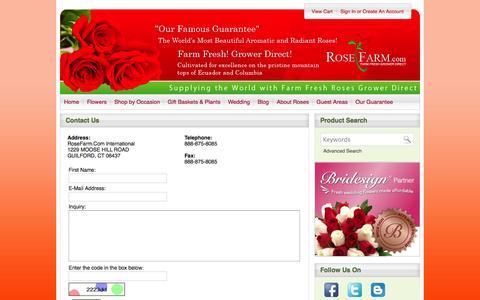 Screenshot of Contact Page rosefarm.com - Contact RoseFarm for Online Roses delivery | RoseFarm.com - captured Oct. 6, 2014