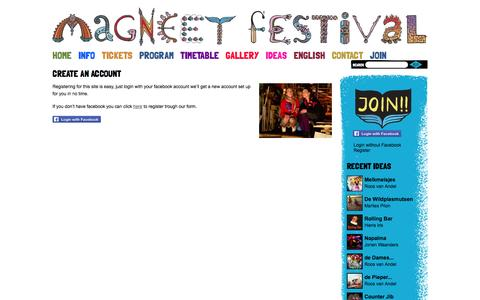 Screenshot of Signup Page magneetfestival.nl - Magneet FestivalCreate an Account  » - captured Sept. 22, 2014