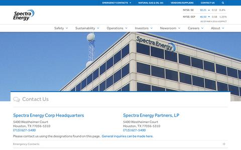 Contact Us - Spectra Energy
