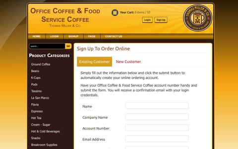 Screenshot of Signup Page thomasmillercoffee.com - Thomas Miller | Office Coffee & Food Service Coffee - captured Jan. 12, 2016