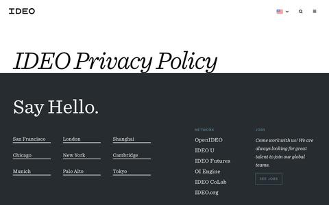 Screenshot of Privacy Page ideo.com - IDEO Privacy Policy | ideo.com - captured April 25, 2017