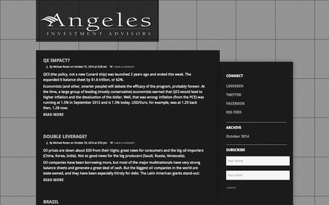 Screenshot of Blog angelesadvisors.com - Blog | Angeles Investment Advisors | Angeles constructs exceptional portfolios for some of the world's most forward-thinking clients - captured Nov. 2, 2014