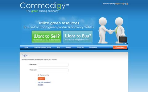 Screenshot of Login Page commodigy.com - Login | Commodigy - captured Sept. 30, 2014