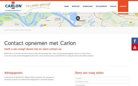 Screenshot of Contact Page carlon.nl - Contact opnemen met Carlon - Carlon - captured Oct. 25, 2016