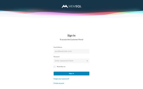 Screenshot of Login Page memsql.com - Log in to Customer Portal - captured June 20, 2019