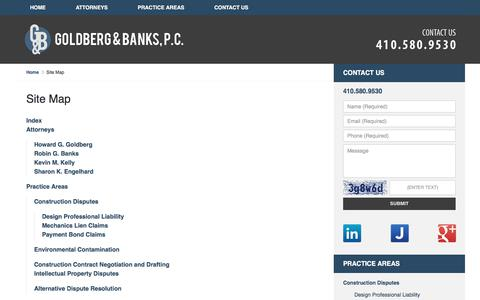 Screenshot of Site Map Page gbpclawfirm.com - Site Map :: Maryland Construction Lawyer Goldberg & Banks, P.C. - captured Aug. 24, 2017