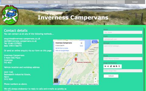 Screenshot of Contact Page inverness-campervans.co.uk - Contact - captured Oct. 27, 2014