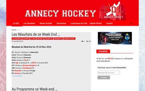 Screenshot of Home Page annecy-hockey.com - Annecy Hockey - Les chevaliers du lac   Suivez l'actualité des CDL Annecy Hockey - captured Dec. 1, 2016