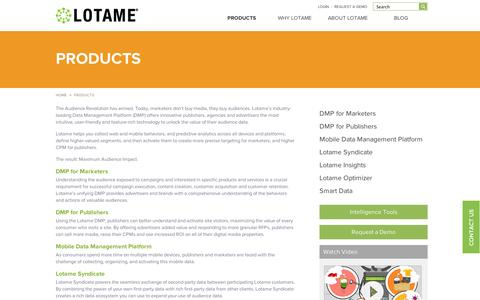 Screenshot of Products Page lotame.com - Data Management Platform, Audience Management, Data Driven Marketing | Lotame - captured Sept. 10, 2014