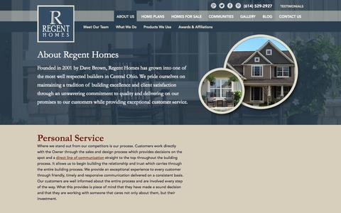Screenshot of About Page regent-homes.com - Columbus and Central Ohio Inventory Home Builder | About Regent Homes - captured Oct. 7, 2014