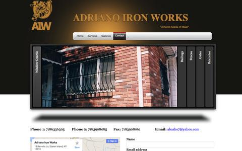 Screenshot of Contact Page adrianoironworks.com - Contact | Adriano Iron Works - captured Feb. 5, 2016