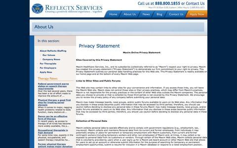 Screenshot of Privacy Page reflectxstaffing.com - Medical Staffing Agency – Reflectx Services - captured Nov. 30, 2016