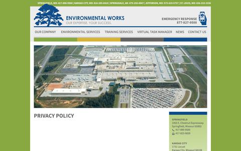 Screenshot of Privacy Page environmentalworks.com - Privacy Policy | Environmental Works - captured Aug. 14, 2017