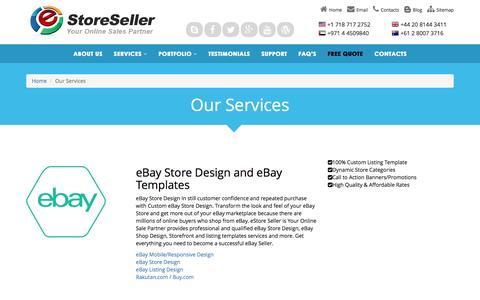 Screenshot of Services Page estoreseller.com - eStore Seller Services | eBay Stores | Amazon | Magento Store Design - captured Dec. 15, 2015