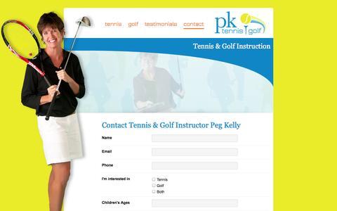 Screenshot of Contact Page pktennisgolf.com - Minnesota Golf Pro | Tennis Lessons | Book Peg Kelly - captured Sept. 30, 2014