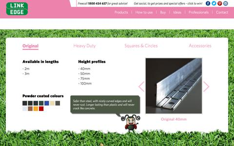 Screenshot of Products Page linkedge.com.au - Link Edge: Metal Garden and Lawn Edging Products - captured July 20, 2018