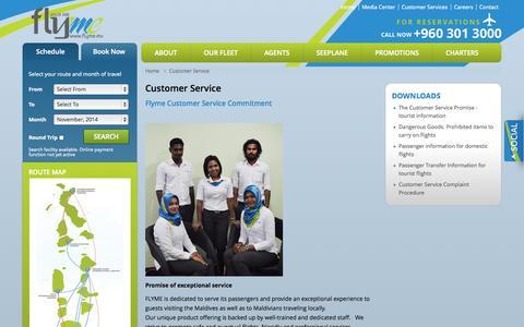 Screenshot of Support Page flyme.mv - Flyme Customer Service – Domestic Maldives Flight - captured Nov. 3, 2014