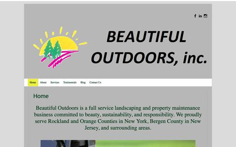 Screenshot of Home Page beautifuloutdoors.com - Beautiful Outdoors - Landscaping & Property Maintenance - captured Oct. 5, 2018