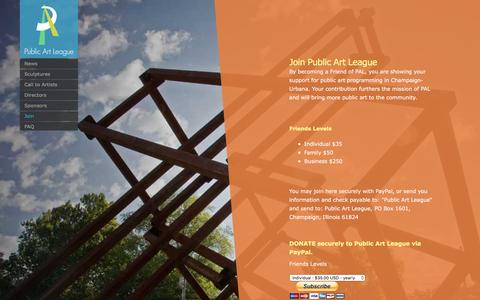 Screenshot of Signup Page publicartleague.org - Join | Public Art League - captured Dec. 13, 2015