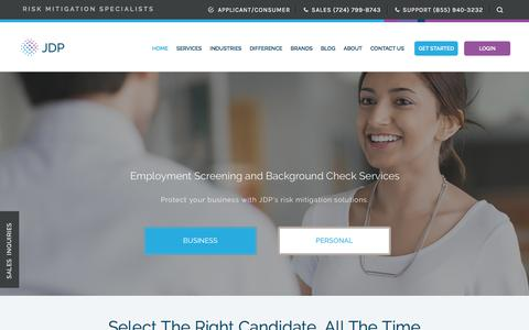 Screenshot of Home Page jdp.com - Employment Screening Services & Background Check Company | JDP - captured July 26, 2018